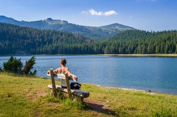Wooden bench at Black Lake in Durmitor, Montenegro