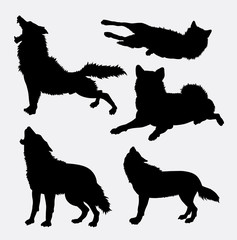 Wolf wild animal and action silhouette. Good use for symbol, logo, web icon, mascot, sign, avatar, or any design you want. Easy to use.