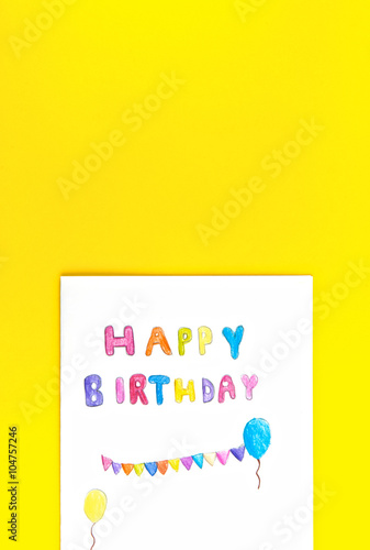 Happy Birthday Card Kid Handwriting On Yellow Background Children