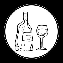 Simple doodle of a bottle of wine