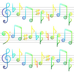 colorful musical notes freehand drawing background
