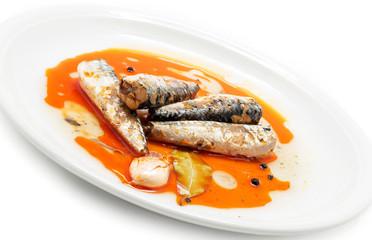 Marinated mackerel in tomato souce
