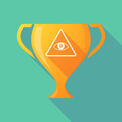 Long shadow trophy icon with an all seeing eye