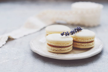 Vanilla macaroons with lavender and caramel filling on white porcelain plate