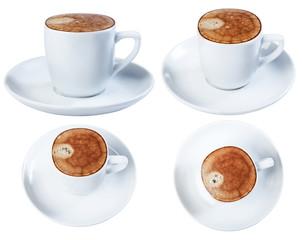 Espresso coffee in a ceramic dish, isolate on a white background