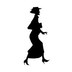 Elderly Lady Silhouette. Vector EPS 10.