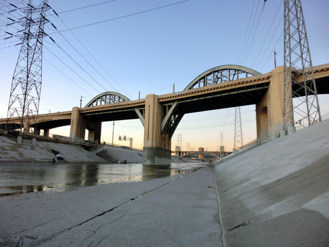 Los Angeles river bridge at dusk - landscape color photo