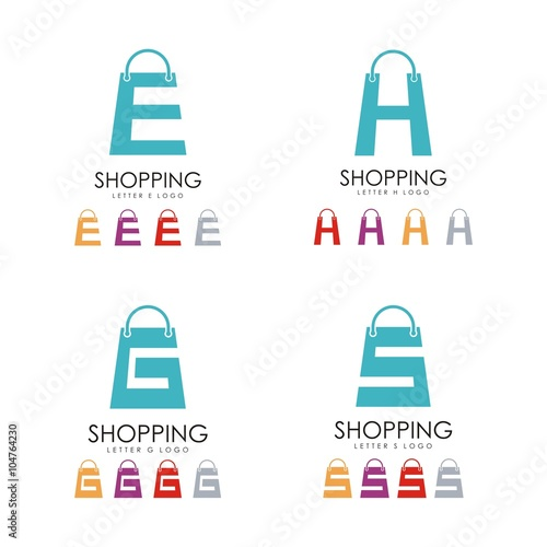 Shopping Bag Logo Letter E H G S Design Vector Logo