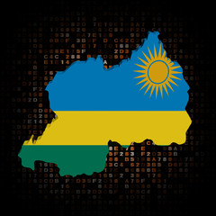 Rwanda map flag on hex code illustration