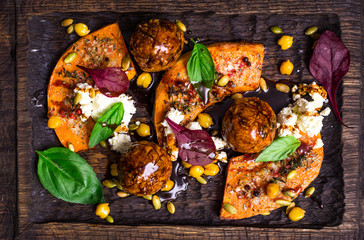 duck falafel with chickpeas