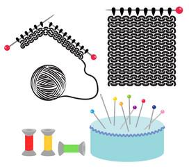 Knitting and sewing vector set
