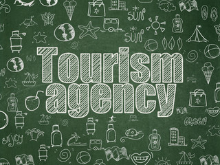 Travel concept: Tourism Agency on School Board background