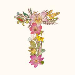 Floral alphabet. Letter T