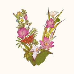 Floral alphabet. Letter V