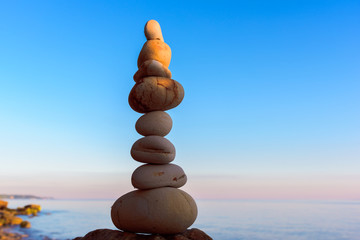 High stack of pebbles