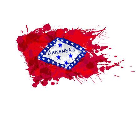 Flag of Arkansas, USA made of colorful splashes