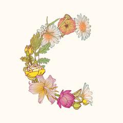 Floral alphabet. Letter C