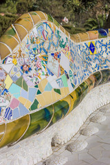 Detail of a bench in Park Guell