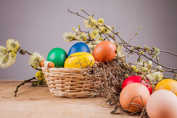 Easter eggs on the wooden table
