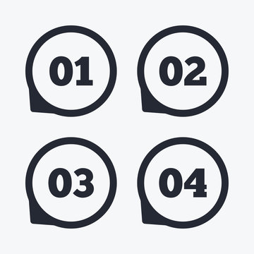 Step one, two, three icons. Sequence of options.