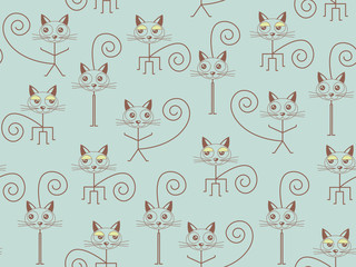 Stick cats seamless pattern, wallpaper