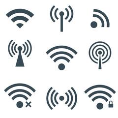 Vectvor black wireless icons set