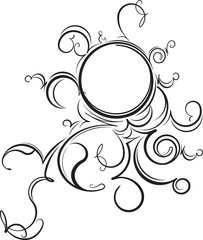 Unusual round vintage floral frame for your design. Vector illus