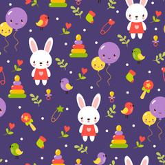 Cute baby pattern design. Childish cartoon seamless pattern in vector. Cute baby pattern design.