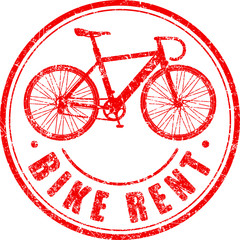 Bike rent red grunge style rubber stamp with silhouette of bicyc