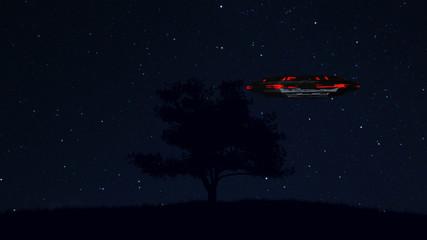 UFO behind Lonely Tree under Amazing Night Sky