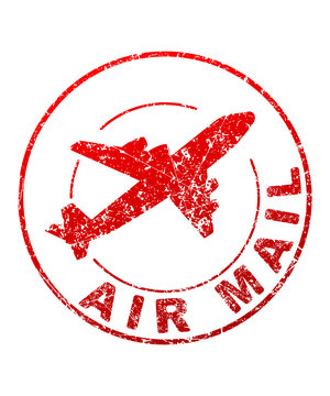 Air mail grunge style vector rubber stamp with silhouette of fly
