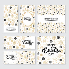 Easter golden ornamental banners set