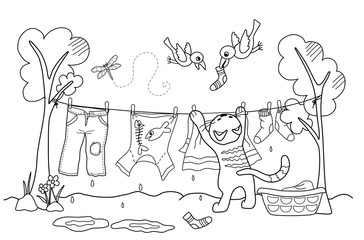 Katze hängt Wäsche auf (Malvorlage)