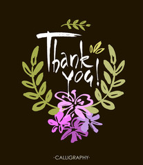 Card template with hand drawn flower border and hand written Thank You text. Vector illustration.