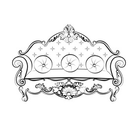 Royal Sofa with classic damask ornaments. Vector