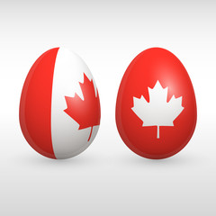 Easter eggs Canada flag colors