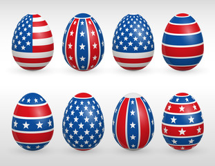 Easter eggs USA colors flags set