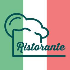 Icono plano gorro de cocinero y ristorante sobre bandera de Italia #1