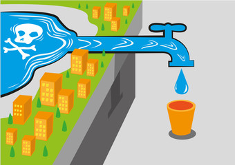 A community gets water from a contaminated source like lead which is deadly. Editable Clip Art.