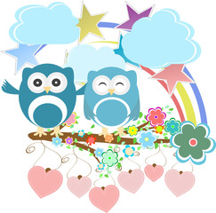 Vector set - owls, birds, flowers, sky, cloud