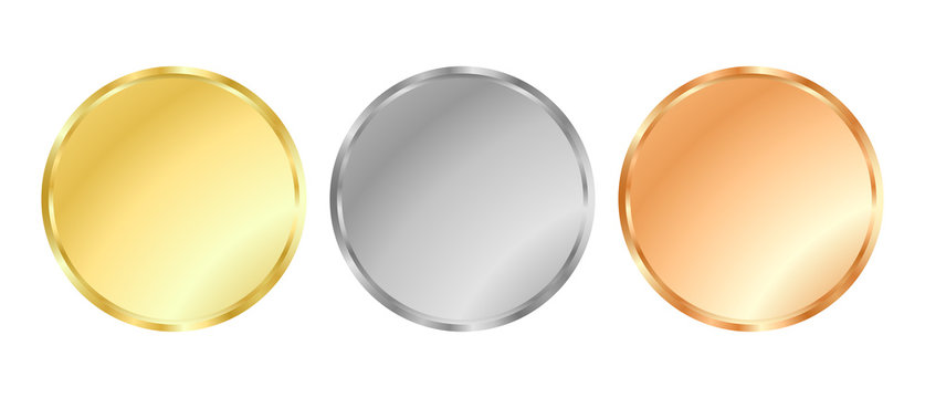 Simple vector template gold, silver, bronze medals for stamps or coins