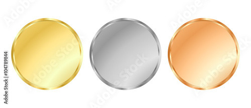 simple vector template gold silver bronze medals for stamps or
