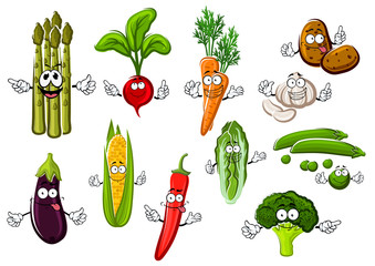 Happy farm vegetables cartoon characters