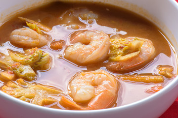 hot and sour curry with tamarind sauce, shrimp and vegetables : Delicious thai traditional food;