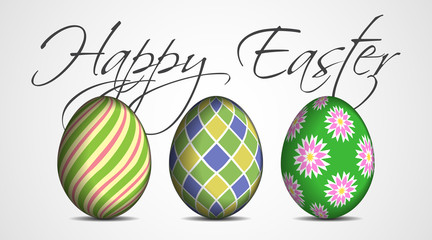 Easter greeting card - three colored eggs