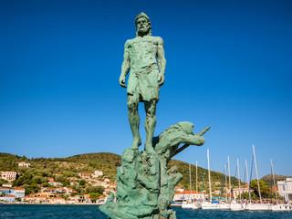 Aluminium Prints Historic monument The statue of Odysseus in Ithaca island, Greece