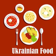 National ukrainian cuisine dishes set