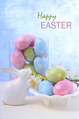 Easter pastel eggs and bunny decoration.