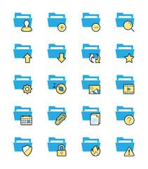 Folder icons, Monochrome color - Vector Illustration