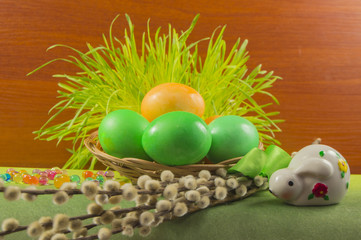 Colorful Easter eggs with the  Bunny and willow
